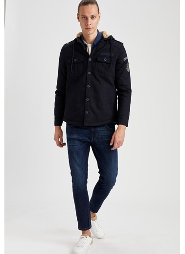 DeFacto Slim Fit Uzun Kollu Gömlek Ceket Lacivert